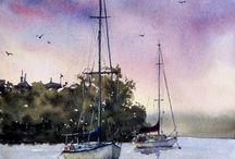 ships in art (sea, river, water)
