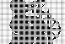 Gráficos  variados monocromáticos /  Ponto Cruz Monocromático