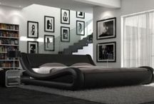 Black Double Bed Leather Modern Designer Beautiful Bedroom Furniture 4FT6 Size