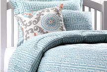 Aqua Dorm  / Our Aqua Greek Key bedding is a great place to start decorating your dorm room. Add a few Rosa Mandarin Damask pillows and you've got a perfect base for an aqua dorm room with mandarin and natural accents! / by American Made Dorm & Home