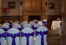 Violet Satin Sashes / Violet Satin Sash with white lycra chair covers www.suffolkchaircovers.com