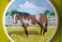 Horse / Horse embroidery art for wall decoration.