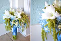 Blue Green & White Wedding Flowers
