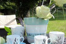 Garance porcelaine Limoges reflet vert et bleu / porcelaine de limoges peinte à la main