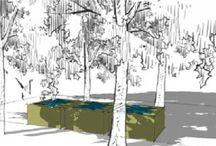 Tuinarchitectuur met watertafels / Deze tuinen werden uitgetekend door Sebastiaan Van Reeth met onze Viveretto Watertafels. Meer informatie op www.watertafels.be of www.struktuur.info