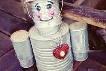 bonecos de reciclaveis