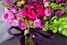 Bouquets-Deep red, intense pink and rich purple bouquets