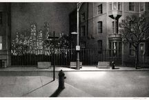 Art . . Martin Lewis / Martin Lewis, was a New York artist, originally from Australia. He had an extraordinary understanding of the play of light and shadow and created amazing night scenes.  A photographer's eye?  No, a cinematographer's.  He seemed to have a love affair with the night or twilight.  But he also etched, or painted, marvelous scenes with almost no shadows as well.  Just magic.