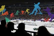 Flying pictograms / Flying pictograms depicting various winter sports for stadium event