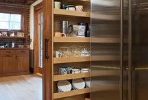 Pull out bookcase for cookery books in garden room