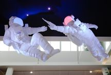 MTV / MTV wanted to celebrate their newly revamped offices with a suitably iconic and irreverent intervention into their atrium space. After a lot of silly conversations we settled on the astronauts from their classic Ident, sharing a zero gravity beer in the pose of Michelangelo's Creation of Adam. We worked with Windsor Workshops and Mainframe to design and safely deliver these intrepid explorers into reality.