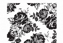 Terrace Background Stamp / Rose, Peony