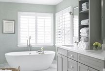 Bathroom ideas white tiles 2 tone