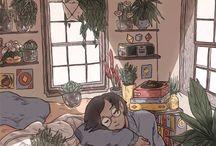 комната,растения