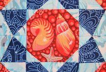 "My farmer's wife - Strandmaedel Quilt / Fabrics  Tula Pink ""Salt Water""  Deb Strain ""Seascapes"""