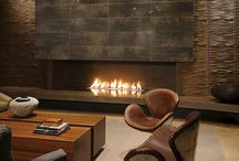 New Luxury / High End Interior Design, Luxury Home, Interior Design, Construction Remodel, Bathroom Remodel, Sliding Glass Door, Tile Fireplace, Free Standing Bathtub, Copper Tile, Club Chair, Furniture, High End Furniture
