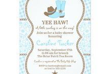 Cowboy Baby Shower, Blue and Brown / Cowboy baby shower theme in blue and brown paisley and gingham. DIY, planning, decor, fun food and more!