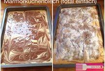 Einfacher Marmorkuchen auf dem Blech