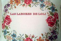 LAS LABORES DE LOLI  / Labores, hechas a mano, punto de cruz y crochet, cojines, cuadros y manteles.