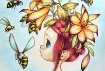 Bitmiş ağrılı çiçekli pano