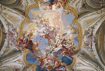 The decoration of the ceiling in the Baroque style