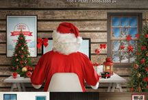 Christmas scene creators and mockups / Photoshop design for Christmas greeting cards, promotion app design for Christmas, responsive web design and more...