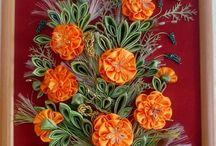 Obrazy z kwiatów ze wstązki