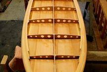 wooden standup paddle board & kayaks.