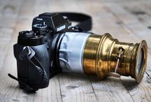 Vintage cameras / Magic lantern brass lens.