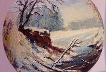 Felicja Musioł-Kozielska Painted Glass Ball Christmas / Tree decoration baubles, bombki, pejzaż zimowy, kościół ,church, Christmas Village Church Hand Painted Glass Ball Christmas