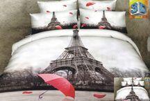 Posteľné obliečky s cestovateľským motívom / Posteľné obliečky s motívom miest ako New York, Amsterdam, Londyn, Paríž