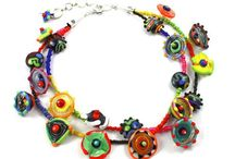 Lyn Foley Flowers and Leaves Collection -Handmade jewelry necklace / Wonderful Glass Flowers Leaves Collection Jewelry by artist Lyn Foley