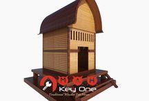 Rumah Anjing dari Kayu Jati (Wooden Dog House) Model Rumah Adat Sasak