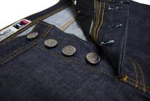T Series / Classic 5 pocket jeans with slim-fit style and button fly.  14oz Raw Denim 100% Cotton Sanforized