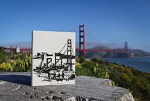Golden Gate Bridge 75th Anniversary DODOcase / Featuring an original sketch by Howard W. Brown, Grandfather of DODOcase bookbindery manager Annemarie Munn, this case celebrates both the city that we call home, as well as the creative and artistic spirit of our employees. Only 75 hand-numbered cases will be produced, a tribute to the number of years that the Golden Gate Bridge has been in use. / by DODOcase