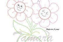 kvety v kvetináči fonalgrafika