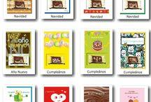 Tarjetas con Chocolate / Atractivas tarjetas de varios temas. Ada tarjeta incluye un chocolate que es aplicado en su interior. Con distintos tipos de chocolate, pero siempre con el mejor chocolate Belga.