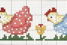 ANIMAL 8-CHICHEN-ROOSTER*CROSS STITCH-EMBROIDERY