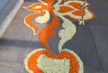 Floral arrangementsas rangoli