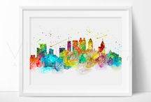 WATERCOLOR SKYLINE PRINTS