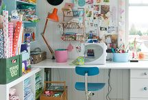 Craftroom & sewing / Craftroom, sewing, storage, application, diy, wallpaper, vintage, retro, fabrics