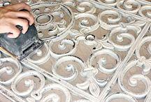 Anstrich antike von Metall und Holz