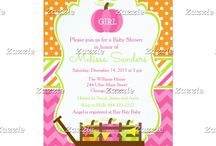 Autumn Fall Pumpkin Wagon Pink Chevron Baby Shower / This collection features a pumpkin and pumpkin wagon. Perfect for fall, autumn and thanksgiving baby showers or any other event. The colour palette consists on hot pink, bright green and orange. Chevron background with a polka dot ribbon.