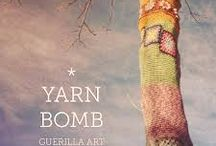 Yep , It's yarn bombing . / Yarn bombing, yarnbombing, yarn storming, guerrilla knitting, kniffiti, urban knitting or graffiti knitting is a type of graffiti or street art that employs colourful displays of knitted or crocheted yarn or fiber rather than paint or chalk. / by Tess Davidson