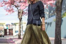 pleated skirts.