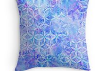 Throw Pillow / Sacred Geometry Pattern Design - paint, hand-drawing, native american, Flower-of-Life