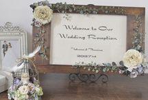 ウェルカムボード/アリア [ wedding sign / welcome sign ] / 木製フレームにフラワーアレンジをしたアンティーク風の手作りウェルカムボード [ wedding sign / welcome sign ]