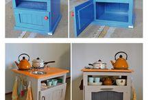 Oude kast wordt speelgoed keuken.