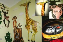 baby mural design / painting baby room, dipinti per camere bambini, scuole