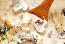 Poulet crème et champignons
